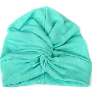 BABY TURBAN WITH KNOT IN SOLID COLORS