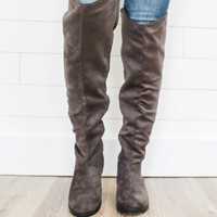 Legacy Over The Knee Boots - Charcoal