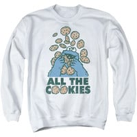 SESAME STREET/ALL THE COOKIES-ADULT CREWNECK SWEATSHIRT-WHITE