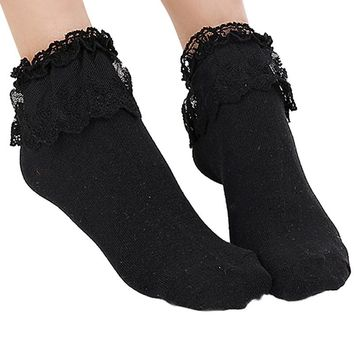 Hot Princess Girl Kids Cute Sweet Socks Women Ladies Vintage Lace Ruffle Frilly Ankle Socks Factory Price