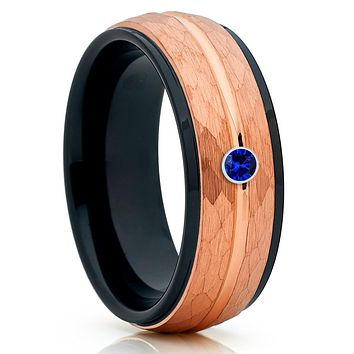 Blue Sapphire Ring - Rose Gold Tungsten - Tungsten Wedding Band - Men's