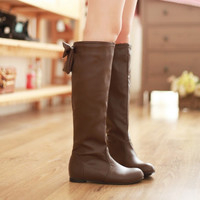 Round Toe Bow Knee High Boots Flats Shoes 8500