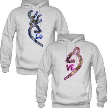 Browning Deer Love Couple realtree Hoodies