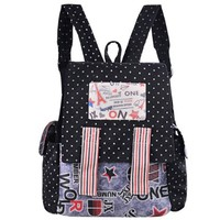 Zeyo New College Style School Bag Computer Bag Cartoon Printed Splice Cloth Backpack:Amazon:Clothing