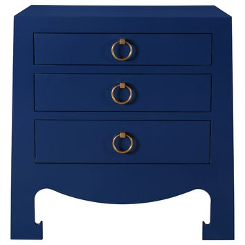 Bungalow 5 Jacqui Navy 3-Drawer Side Table