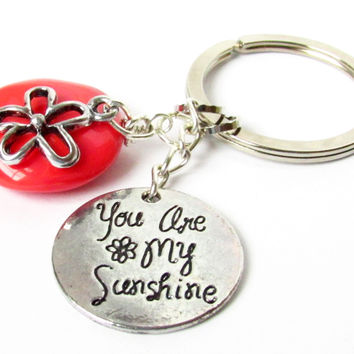 Quote Keychain, Beaded Keychain, Charm Keychain, Car Accessories, Red Coral Keychain, Your are my Sunshine Keyring