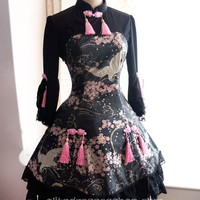 Lolita Cotton Chinese Style Print Tassel Bow Flounced Seventh Sleeve Stand Collar Dress