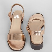 Wide Fit Rose Gold Contrast Block Heel Sandals
