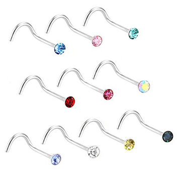 Charisma Stainless Steel Crystals Nose Studs Rings Bone Bar Pin Piercing Jewelry 10 Pcs Set Assorted Color