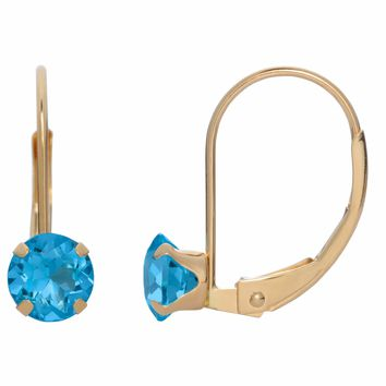 5MM Round Natural Blue Topaz 10K Yellow Gold Leverback Earrings