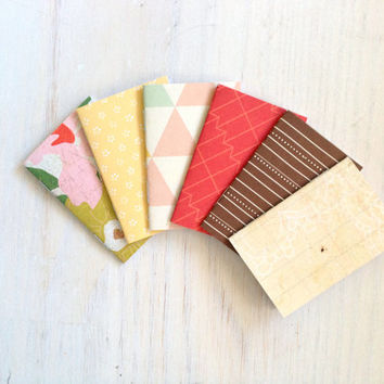 Notebooks: 6 Tiny Journals, Small Notebooks, Red, Floral, Geometric, Fun, For Her, For Him, Kids, Gift, Unique, Party Favors, Wedding, T119
