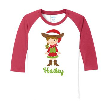 Cowgirl Christmas Brunette on Personalized White/Red Raglan Sleeve T-Shirt