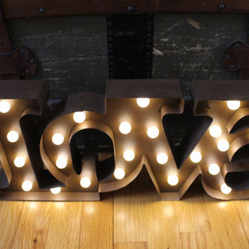 Lighted Love Marquee Sign,metal letter,rustic wedding,vintage home decor,photo prop,industrial sign,wedding love sign,lighted wedding sign