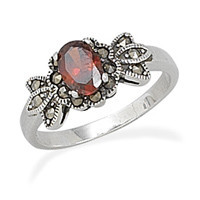 Red Cubic Zirconia with Marcasite Ring