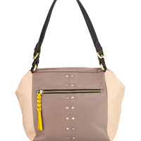 Madison Colorblock Leather Shoulder Bag, Mushroom/Multi - Oryany