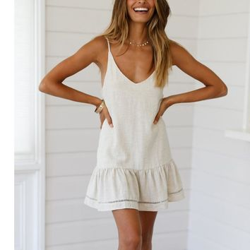 2019 Summer Beauty Fashion Women Camis V-Neck Solid Sleeveless Casual Backless Butterfly Mini Dress summer dress robe femme