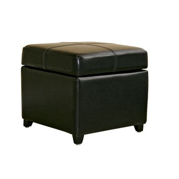 Baxton Studio Black Full Leather Storage Cube Ottoman  Set of 1