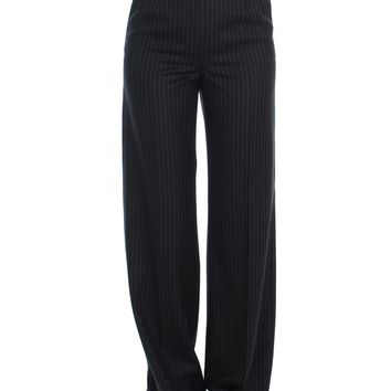 Black Striped Wool High Waist Pants