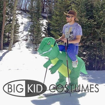 Kid Adult Inflatable T-Rex Dinosaur Halloween Dress Party Costume Dino Rider HU