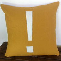 Mustard yellow monogram cushion cover-Symbol Exclamation mark 16 inch cushion cover-personalized monogram cover in stock
