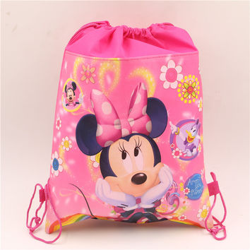birthday christmas gift lovely minnie mouse kids girls non-woven fabrics backpacks drawstring bag 1pcs