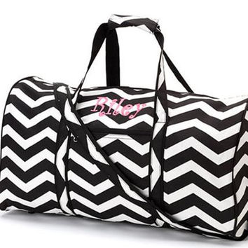 "Chevron Black Duffel 21""  with Matching Straps - Free Embroidery"