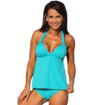 UjENA Teal Open-Back Tankini Swimsuit Top Only