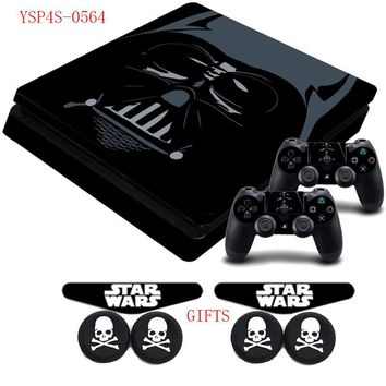 Darth Vader Star War PS4 Slim Vinyl Protective Sticker Decal Skin +2x LED Light Bar Stickers For Playstation 4 Slim Console