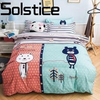 Solstice Home Textile Simple Cartoon Bear Skin Comfortable Reactive Print Bedding Bed Sheet Quilt Cover Pillowcase