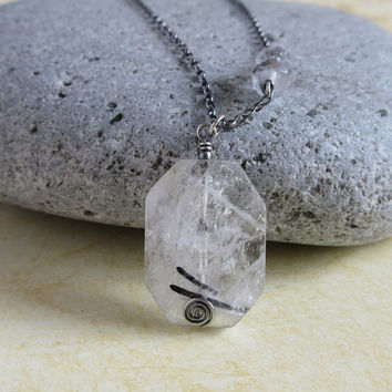 Tourmaline Quartz Necklace, Oxidized Sterling Silver Rolo Chain, Black Rutilated Quartz Pendant