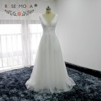 Rose Moda Deep V Neck Soft Tulle Beach Wedding Dress Low V Back Boho Wedding Dresses Summer Dress