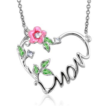 """""""Love You Mom""""Heart Shaped Pendant Necklace,Crystal from Swarovski Crystal,Birthday Gift for Mom"""