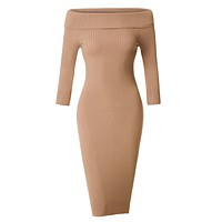 LE3NO Womens Soft Ribbed Knit Foldover Off Shoulder Bodycon Sweater Dress (CLEARANCE)