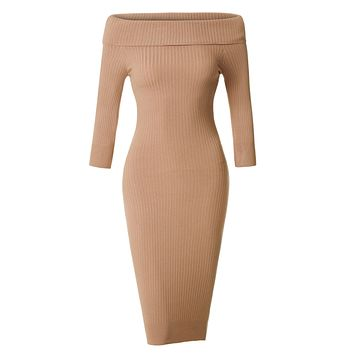 Soft Ribbed Knit Foldover Off Shoulder Bodycon Sweater Dress (CLEARANCE)