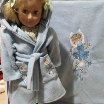 18 inch doll robe matching fleece bedding fits american girl doll bed blue blanket ballerina doll blanket