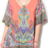 Coral Green Plus Size Trendy Flowy Paisley Print Date Dress