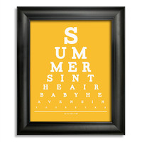 Lana Del Rey Eye Chart, Summer's In The Air Baby Heaven's In Your Eyes, 8 x 10 Giclee Print BUY 2 GET 1 FREE