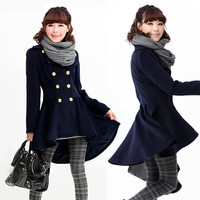 Trenchcoat Swing Coat Outerwear Double Breasted Metallic Buttons Asymmetric