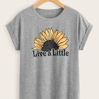 Letter And Sunflower Print Tee
