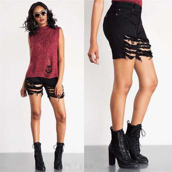 Fashion High Waist Ripped Denim Shorts