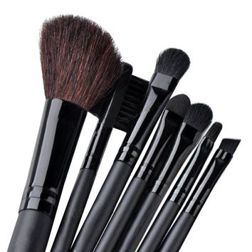 7 Pcs Black Pro Makeup Eyeshadow Blush Brush Cosmetic Set Kit + Leather Case = 1931763844
