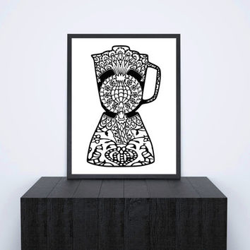 Instant Printable Kitchen Art, Black and White Blender with Paisley Henna Design Pattern, Digital Image 8x10 Wall Decor Download