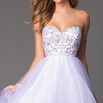 Short Strapless Prom Dress with Corset Back