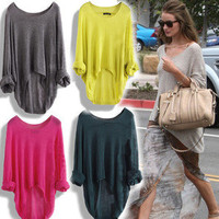 New Ladies Casual Batwing Round Neck Knitted Pullover Jumper Loose Long Sweater