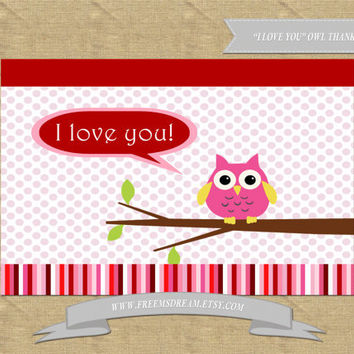 "Valentine's Day Card - ""I Love You"" Owl Theme (Printable)"
