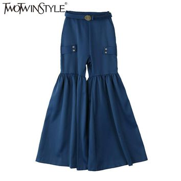 TWOTWINSTYLE 2017 Spring Women Lace up High Waist Trousers Female Pleated Flare Pants Palazzo Bell Bottom Korean Fashion Clothes