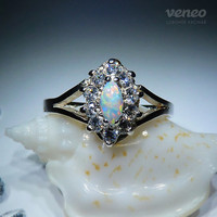 Lostris. Silver (or Gold) Opal Ring with Zircons, all sizes