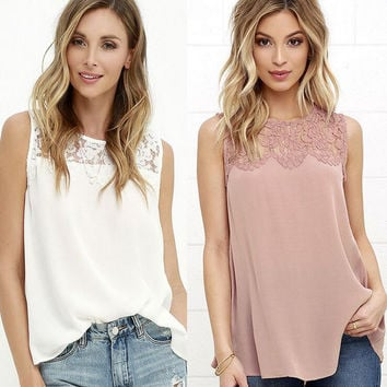 New Fashion Summer Women Hollow Out Solid Color Chiffon Tank Tops Lace Floral O-neck Shirts Gift