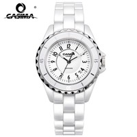 Luxury brand Women watches 2016 fashion casual elegant ceramic White quartz wrist watch Women Waterproof 100m CASIMA #6702