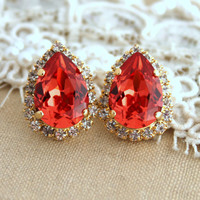 Peach orange Crystal big teardrop stud earring - 1 14k plated gold post earrings real swarovski rhinestones.